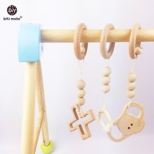 Let's Make beech wood ring 3pc wooden teething elephant baby play gym accessories toys wood cross baby charms