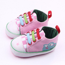 Canvas Color tie cartoon frogs Toddler shoes baby boy and girl learning first walking shoes soft bottom xz81(China)