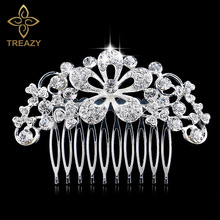 TREAZY Flower Crystal Bridal Hair Combs  for Women Wedding Hair Jewelry Hair Accessories Diamante Rhinestone Floral Slide Clip