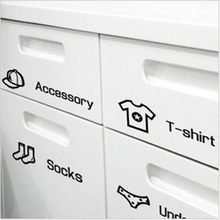 Wardrobe Cabinets Clothes Sorting Stickers Funriture Decorative Films for Bedroom Kids Rooms Storage Decoration, Black/White