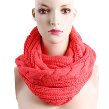 Winter Cable Knitted Infinity Scarf Unisex Lovers Couples Ring Snood Scarves Warm Knitting Round Circle Scarf Wraps NQ988829(China)