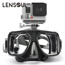 lensoul Swim Glasses Diving Mask With Mount for Xiaomi Yi Acion Camera(China)