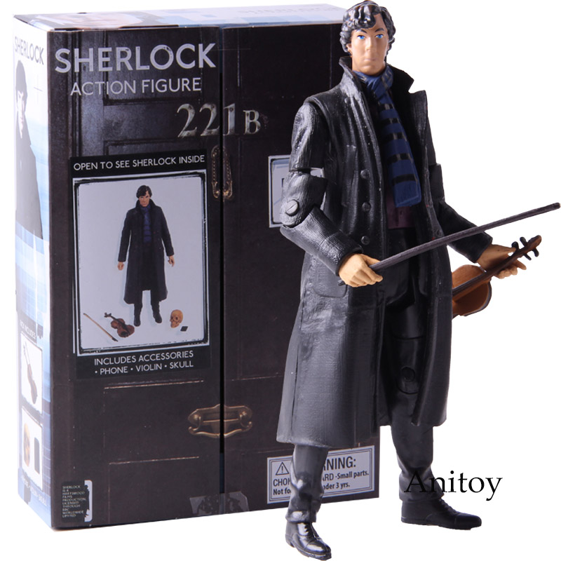 New Poseable Arms 221b Detective Sherlock Holmes Benedict Cumberbatch With Phone Violin Skull 14cm Action Figure Anime Toys Action & Toy Figures