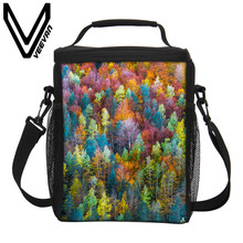 VEEVANV Brand 2017 Bio Gaerial Photography 3D PU Thermal Insulated Lunch Bag Cooler Picnic Food Bags Girls PU Storage Lunch Bags