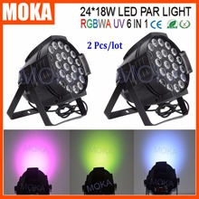 2PCS/LOT Stgae Dj Lighting 24x18W 6 In1 RGBWA+UV Indoor DMX512 Led Par 64