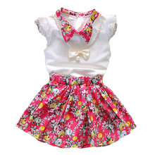 2017 New Fashion Children Clothing Sets Infant Baby Girls Clothes Floral Skirts White O-Neck Sleeveless Tops For Kids Girls Suit