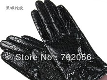 womens snake print Genuine Leather gloves skin gloves LEATHER GLOVES mixed color 12pairs/lot #3131