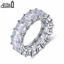Effie Queen 2017 Row Eternal Crystal Jewelry Wedding Ring Clear Fashion Eternity Rings for Women Free Shipping Jewelry DR146(China)