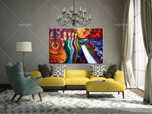 china wholesale room corner decoration musical instrument painting service bar definition artworks painting guitar oil painting(China)