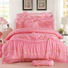 luxury Silk Cotton Wedding Bedding Sets Lace Jacquard red and pink Quilt Cover Set 8/6/4pcs Queen King size Bedlinen