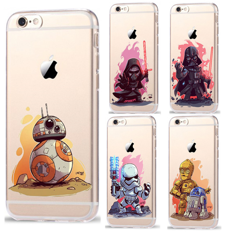 RuiC Star Wars Cartoon Characters KyloRen BB-8 Phone Case iPhone 7 7Plus Plastic Back Cover iPhone 5 5S SE 6 6S Plus