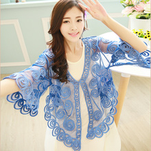 Grande Taille Rétro Femmes Dentelle Couture Broderie Floral Cardigan Demi Flare Manches V Neck Beach Vacances Sheer Caple Manteau(China)