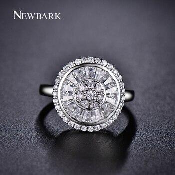 NEWBARK Canal Réglage Ronde Anneau Brillant AAA CZ Diamant Bagues de Fiançailles Pour Les Femmes Or Blanc Plaqué De Bijoux De Mariage