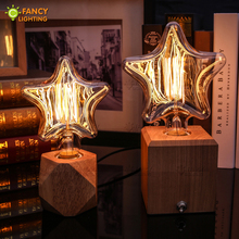 Vintage decorative light bulb e27 star incandescent bulb retro edison flame bulb 110v 220v christmas light indoor for home decor(China)