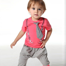 Kids Baby 2Pcs Messenger Bag Bear Pattern Shirts +Short Pants Costume 6M-3Y Hot Selling