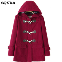 Winter New Women woolen Coat Hooded long section Jackets And Coats Horn Button Cotton coat Padded Warm loose Woolen Coat(China)