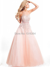 See Through High Neck Keyhole Back Floor Length Long Prom Dresses Crystals Prom Vestidos A-line Organza Prom Dress Brand New