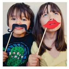 New 30PCS DIY Mask Photo Booth Props Set Funny Mustache Beards Red Lips Costume Fun Pictures Wedding Birthday Party Christmas