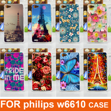 New Fashion diy painting colored animals eiffel tower flowers design Cell Phone Case For Philips W6610 Back Cover Xenium W6610