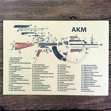 "RMG-157 home decor ""AKM machine gun graphic"" cuadros decoratives painting vintage poster kraft paper for living room 42x30 cm"