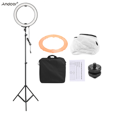 Andoer LA-650D Selfie LED Ring Light Kit Photographic Lighting Fill-in LED Light with Light Stand Color Filter Mount Adapter