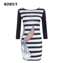 RIMIUT Summer Striped Dress For Women Rabbit Bugs Bunny Kawaii Dresses Sugerbird Self Portrait Cartoon Slim Robe Femme 2XL 3XL(China)