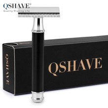 Qshave Men Manual Shaving Razor Classic Safety Razor Black Handle Double Edge Blade Stainless Steel Metal with 5 blades as gift(China)