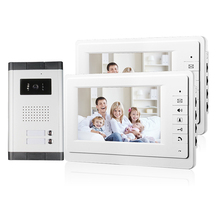 "MILEVIEW New 7"" Video Intercom Apartment Door Phone System 2 White Monitors 1 HD Camera for 2 Household In Stock FREE SHIPPING"
