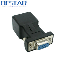 Extender VGA RGB HDB 15pin Female to LAN CAT5 CAT6 RJ45 cat6 Network Cable Female Adapter adaptor RJ45 connector(China)