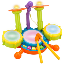 kids Percussion Musical Instrument Set Baby Musical Drum Electronic Jazz Drum Toy Children Educational Multifunction Toys Gift