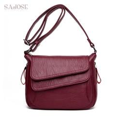 Женская кожаная Высококачественная простая Сумочка, красная сумка на плечо, Женская роскошная дизайнерская сумка-мессенджер, Прямая поста...