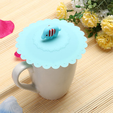 1Pcs 10.5cm Cute Anti-slip Anti-dust Silicone  Cup Cover Coffee Cup Suction Seal Lid Cap Airtight Love Spoon Novelty