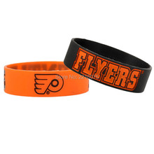 300pcs One inch debossed logo NHL Philadelphia Flyer wristband silicone bracelets free shipping by DHL express