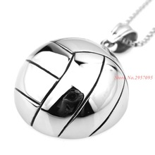"Wholesale Fashion Cool Olympic Volleyball Biker 316L Stainless Steel Pendant Mens Necklace Silver 24"" Box Chain"