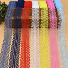 10 Yards Beautiful Lace Ribbon Tape 28MM Lace Trim Fabric DIY Embroidered Net Lace For Sewing Decoration 15 Colors lace fabric(China)