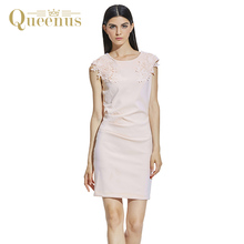Queenus 2017 Women Dress Business Causal Sleeveless Round Neck Elegant Lady Sheath Day Dress Lace Patchwork Pink Women Dresses
