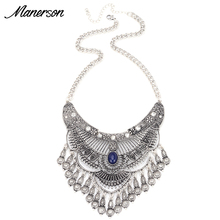 Fashion Women 2016 Vintage Necklace Pendant Collier Femme Tassel Big Collar Choker Boho Maxi Bijoux Statement Jewelry Accesory(China)