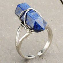 Ayliss Dyed Natural Lapis Lazuli Wrapping Rings Aneis Vintage Ring Hexagonal Goth Style Rings For Women Antique(China)