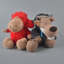 2Pcs 25cm NICI Red Sheeps And Black Wolf Stuffed Plush Toy, Baby Kids Doll Gift Free Shipping(China)