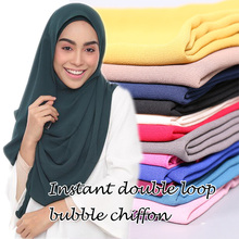 Malaysia hot selling design instant double loop bubble chiffon scarf/ shawls two face hijab muslim 23 color scarves/scarf(China)