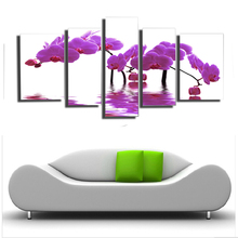 5 Panels HD Beautiful purple orchid flower Wall pictures For Living Room Artwork painting on the wall quadros SJ-101137