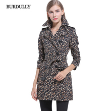 BURDULLY Casual New 2017 Clothing Elegant Ladies Printed Leopard Long Coat Winter Trench Slim Coats For Womens Overcoat Feminino