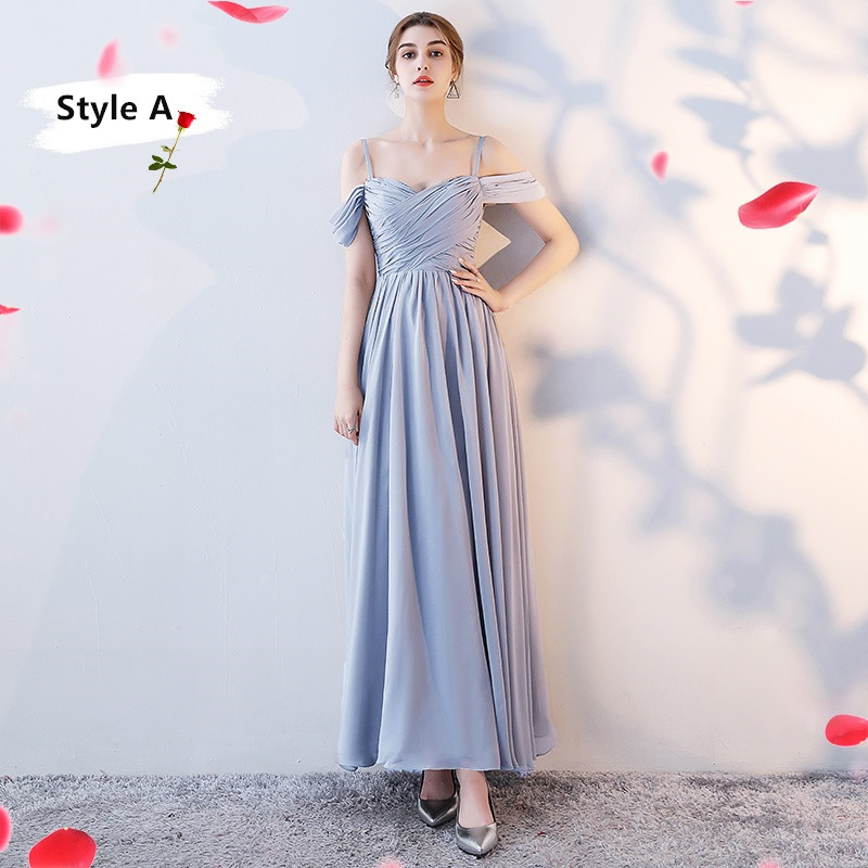SOCCI Weekend Long Bridesmaid Dresses 2017 Sliver Sleeveless Sister Dress Grey Off shoulder Formal Wedding Party Gowns Robe de 11