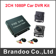 Free Shipping 2CH 1080P Car DVR Kit With 2pcs Camera Truck /Bus Security DVR Kit