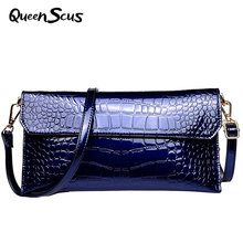 Female Fashion Messenger Bag Women New Style Fashion Trend Cowhide Aslant Envelope Ladies Alligator Crossbody Bag Soft Purse(China)