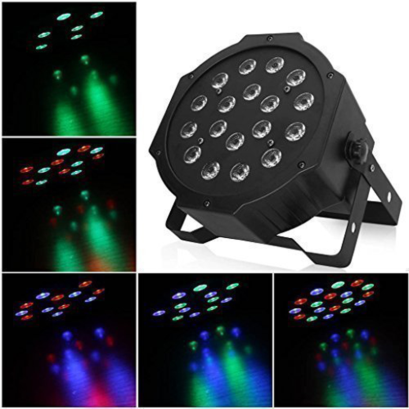 DMX Led Flat Par 18W RGB LED Stage Par Light Wash Dimming Strobe Lighting Effect Lights for Disco DJ Party Show<br>
