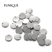 FUNIQUE 50PCs Stainless Steel Round Dog Tag Pendants Stamping Blanks Pendants For Necklaces DIY 10mm Jewelry Making Silver Tone(China)