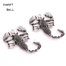 SWEET BELL 6pcs 38*50mm Antique Silver Metal Zinc Alloy Animal Scorpions Pendant Charms Fit Diy Jewelry Making D6132(China)