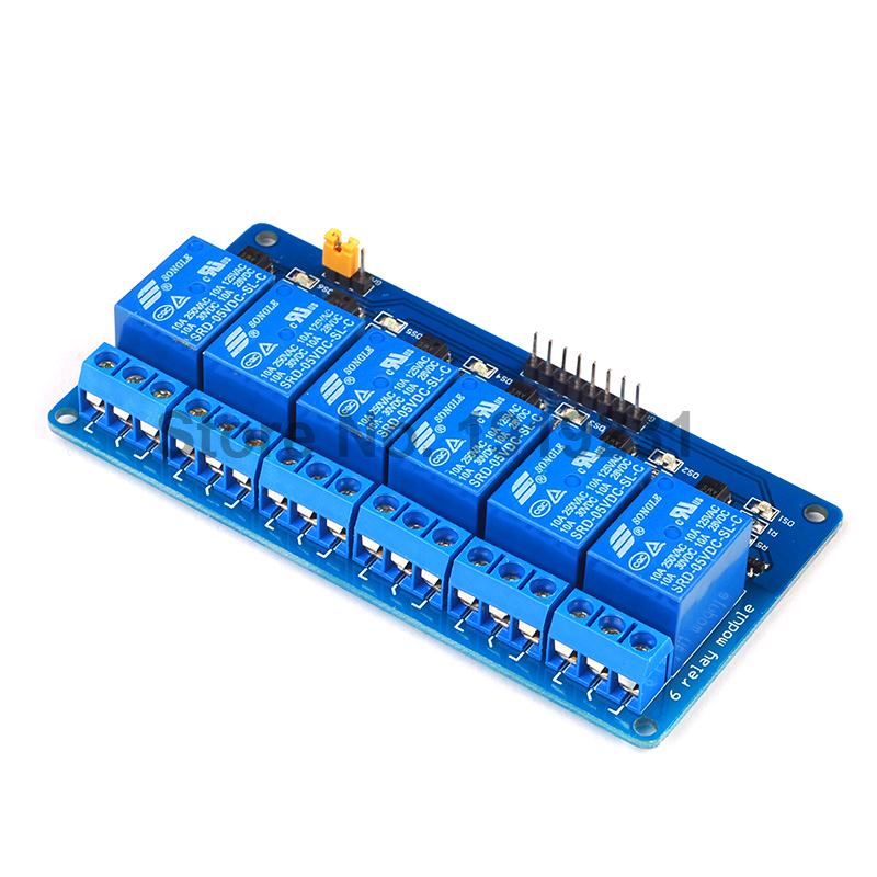 10PCS 6 Channel 5V Relay Module Low 6Channel Relay Module Board for Arduino PIC AVR MCU DSP ARM<br><br>Aliexpress