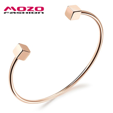 New Fashion Hot Brand Woman Stainless Steel Double Cube Open Cuff Bangles Rose Gold Color Women Bracelet Casual Jewelry LGH841